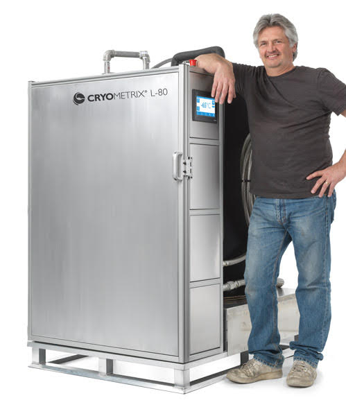 Cryometrix L-80 LN2 Ethanol Chiller with technician.